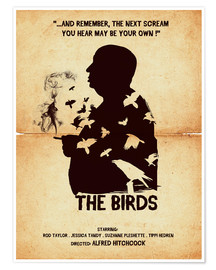 Premium-Poster The birds movie inspired hitchcock silhouette art