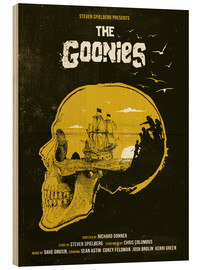 Holzbild  The Goonies movie inspired skull never say die art - Golden Planet Prints
