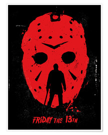 Premium-Poster Friday the 13th film Jason movie inspired illustration