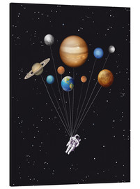 Alubild  Weltraumreisender - Golden Planet Prints
