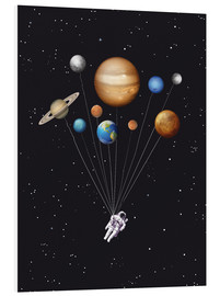 Hartschaumbild  Weltraumreisender - Golden Planet Prints