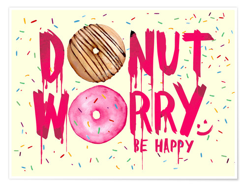 Premium-Poster Donut worry be happy - Süße Typo