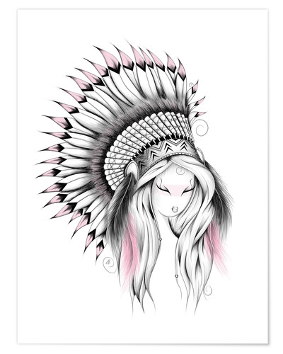 Premium-Poster Indian Headdress Pink Version