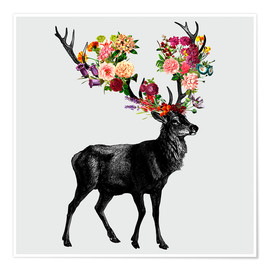 Poster Spring Itself Deer Floral