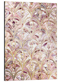 Alu-Dibond  Dusty Rose und Coral Art Deco Marmorierung Muster - Micklyn Le Feuvre