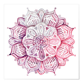 Premium-Poster  Mandala in Rot und Rosa - Micklyn Le Feuvre
