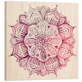 Holzbild  Mandala in Rot und Rosa - Micklyn Le Feuvre