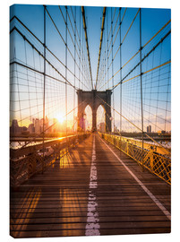 Leinwandbild  Brooklyn Bridge im Sonnenlicht in New York City, USA - Jan Christopher Becke