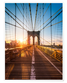 Premium-Poster  Brooklyn Bridge im Sonnenlicht in New York City, USA - Jan Christopher Becke