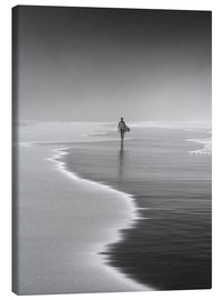 Leinwandbild  Einsamer Surfer am Strand - Alex Saberi