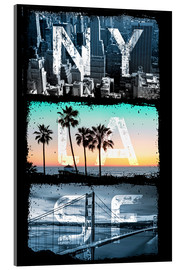 Acrylglasbild  New York Los Angeles San Francisco