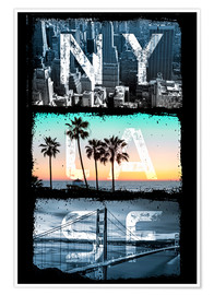 Premium-Poster New York Los Angeles San Francisco