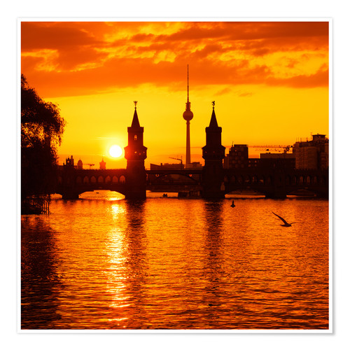 Premium-Poster Berlin - Sunset Skyline