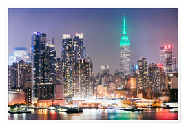 Premium-Poster Empire State Building und die Skyline von Manhattan in der Nacht, New York City, USA
