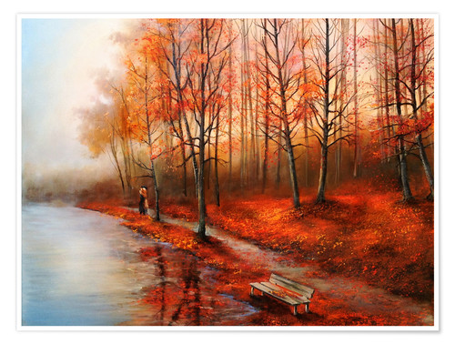 Poster Herbst im Rot