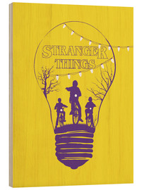 Holzbild  Stranger Things, gelb - Golden Planet Prints