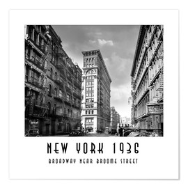 Premium-Poster Historisches New York, Broadway und Broome Street
