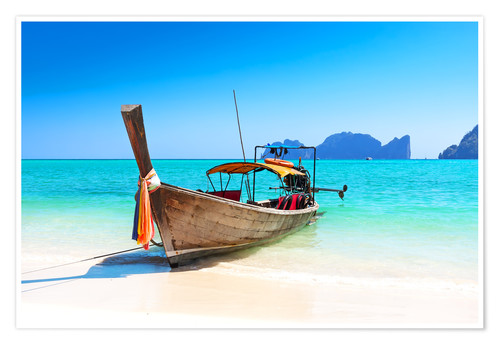 Premium-Poster Holzboot in Thailand