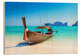 Holzbild  Holzboot in Thailand