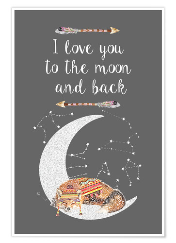 Premium-Poster I love you to the moon and back