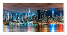 Premium-Poster New York Skyline by Night