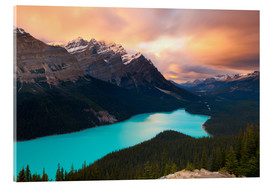Acrylglasbild  Peyto Lake at Sunset, Banff National Park, UNESCO World Heritage Site, Rocky Mountains, Alberta, Can - Miles Ertman