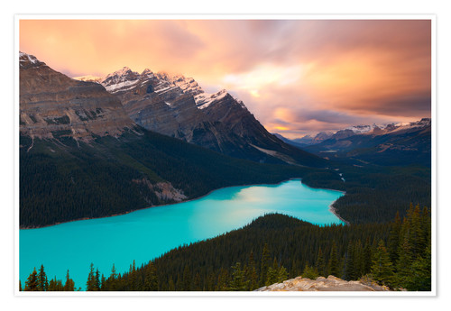 Premium-Poster Peyto Lake at Sunset, Banff National Park, UNESCO World Heritage Site, Rocky Mountains, Alberta, Can