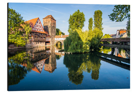 Alubild  Old timbered houses and hanging tower, Nuremberg, Middle Franconia, Bavaria, Germany, Europe - Michael Runkel