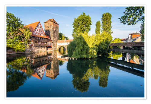 Premium-Poster Old timbered houses and hanging tower, Nuremberg, Middle Franconia, Bavaria, Germany, Europe