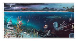 Premium-Poster  Cretaceous land and marine life, artwork - Richard Bizley