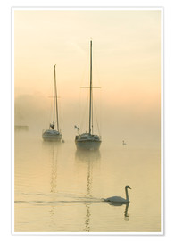Premium-Poster  A misty morning over Lake Windermere, UK - Ashley Cooper