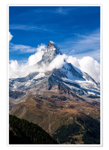 Poster Matterhorn surrounded by clouds