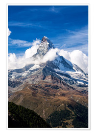 Poster  Matterhorn surrounded by clouds - Roberto Moiola