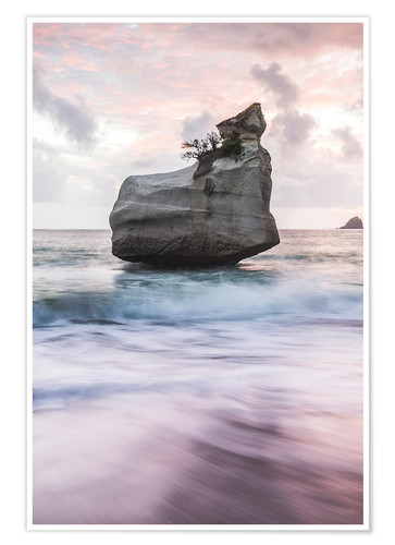 Premium-Poster Cathedral Cove bei Sonnenaufgang, Neuseeland