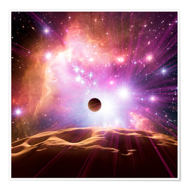 Premium-Poster Alien planet and star cluster