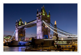 Premium-Poster Tower Bridge und The Shard in der Abenddämmerung