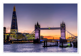 Premium-Poster The Shard mit Tower Bridge und Themse