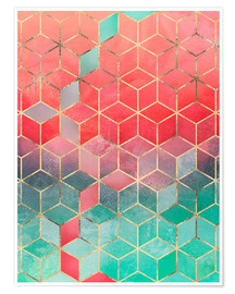 Premium-Poster Rose And Turquoise Cubes