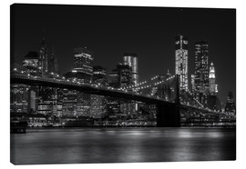Leinwandbild  Brooklyn Bridge bei Nacht - Thomas Klinder