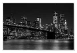 Premium-Poster  Brooklyn Bridge bei Nacht - Thomas Klinder