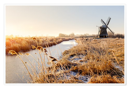 Premium-Poster Windmill near Sande at cold winter morning