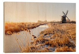 Holzbild  Windmill near Sande at cold winter morning - Reemt Peters-Hein