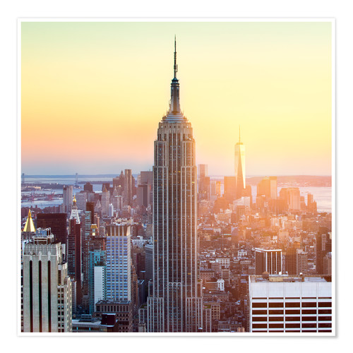 Premium-Poster Empire State Building in New York City bei Sonnenuntergang