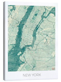 Leinwandbild  New York Karte Blau - Hubert Roguski