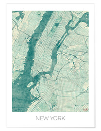 Poster  New York Karte Blau - Hubert Roguski