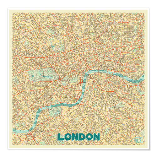 Premium-Poster Karte von London, Retro