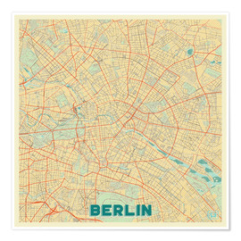 Poster  Berlin Karte Retro - Hubert Roguski