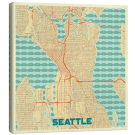 Leinwandbild  Seattle Karte Retro - Hubert Roguski