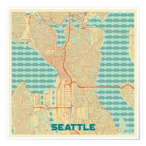 Premium-Poster Seattle Karte Retro