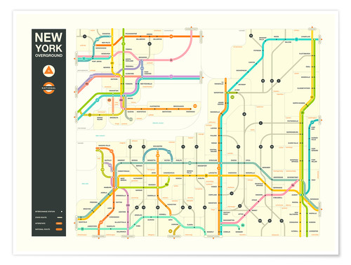 Jazzberry Blue NEW YORK STATE HIGHWAY MAP Poster online bestellen ...